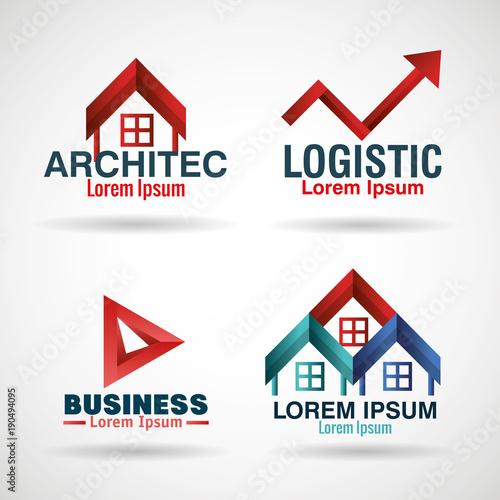 corporation emblems set icons vector illustration design