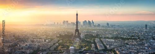 Papiers peints Photos panoramiques Paris Skyline Panorama bei Sonnenuntergang mit Eiffelturm