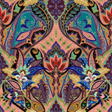 Indian seamless paisley pattern, decorative border for textile, wrapping, decor. Bohemian design. Vector illustration - 190513451