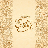 Text Happy Easter with eggs and floral elements - 190514400