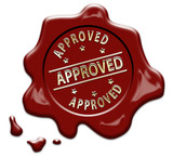 Gold APPROVED text on red wax seal - 190520229