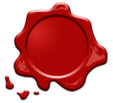 Red wax seal or signet isolated - 190520266