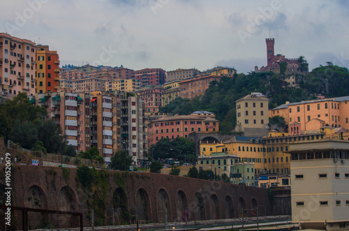 Poster Liguria colorful and picturesque landscape, dominated by d'Abertis Castle, of the Ligurian capital, Genoa. Italy