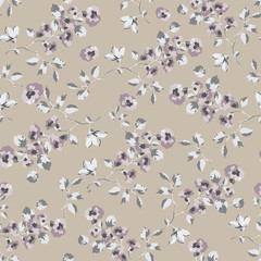 Seamless pattern design with little forget me not flowers