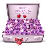 Violet roses bouquet Vector. Happy Valentine day romantic cards - 190525636