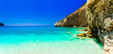 Turquoise sea of amazing Porto Katsiki beach. Lefkada island, Greece