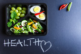 Healthy food and diet concept. Dietary catering. Restaurant dish delivery. Fitness meal. Take away. Fit and eat. Weight loss nutrition in foil boxes. - 190534055