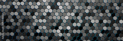 Banner with pattern of many repeating hexagons with blue edges. Multi colored hexagons randomly arranged in monochrome colors. Geometric three dimensional pattern. 3d illustration. - 190540063