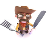 3d Funny cartoon cowboy sheriff holding a knife and fork - 190543679