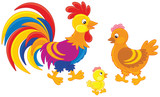 Rooster, hen and chick - 190543848