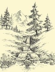 A creek in the mountains. Alpine waterfall landscape © Danussa