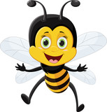 Bee cartoon flying  isolated on white background - 190547843