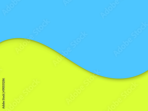 Yellow and blue background with wave. Abstract vector illustration