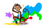 Monkey drawing with paintbrush for coloring book cover cartoon vector - 190551498