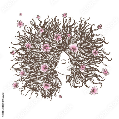 Pretty young woman with long beautiful hair. Flowers in the hair. Vector illustration.