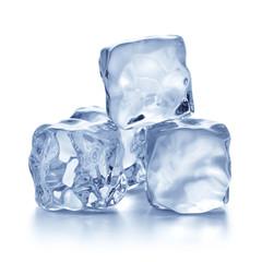 Three ice cubes isolated on white background