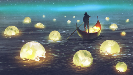 night scenery of a man rowing a boat among many glowing moons floating on the sea, digital art style, illustration painting © grandfailure