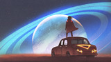 night scenery of the man standing on a vintage car looking at the planet with rings on a horizon, digital art style, illustration painting - 190567476