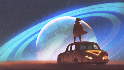 night scenery of the man standing on a vintage car looking at the planet with rings on a horizon, digital art style, illustration painting © grandfailure
