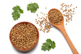 coriander leaves and seeds isolated on white background top view - 190570671