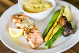 grilled salmon with side of veggies