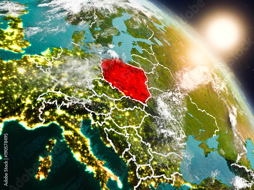 Poland from space during sunrise