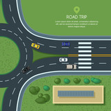 Fototapety Vector flat illustration of roundabout road junction and city transport. City road, cars, crosswalk, trees and house top view. Street traffic, automobiles and transport design elements.