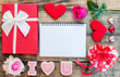 Valentine day and Sweetest day, love concept, flat lay photo with copy space for text