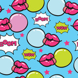 blue pop art seamless vector pattern with bubblegum - 190594210