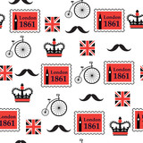 british retro seamless pattern with stamps and bikes - 190594229