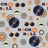 retro hipster seamless pattern with vinyl - 190594421