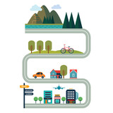 Tourism concept flat style vector illustration with road - 190595089
