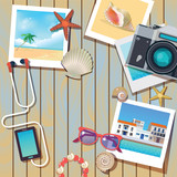 vector background template for summer vacation with photos of travels, wooden texture and camera - 190595208