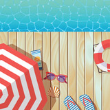 vector background template for summer vacation with wooden pier and umbrella - 190595222