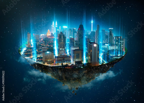 Fotobehang Kuala Lumpur Fantasy island floating in the air with network light came out from the ground , Smart city and wireless network connection concept .