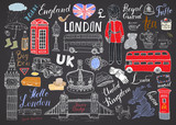 Fototapety London city doodles elements collection. Hand drawn set with, tower bridge, crown, big ben, royal guard, red bus and cab, UK map and flag, tea pot, lettering, vector illustration isolated