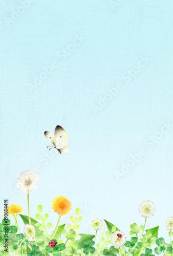 Poster Lichtblauw 春の野原 青空 縦