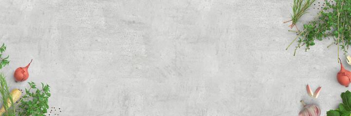 Frische Kräuter, Zwiebeln, Knoblauch - Kochen | Essen | Küche - Banner, Hintergrund