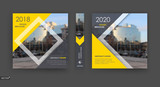 Abstract blurb. Yellow, black a4 brochure cover design. Info banner frame. Ad flyer text font. Title sheet model set. Modern vector front page art. Creative city texture. Rhombus figure image icon - 190611600