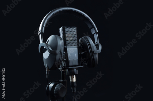 Professional microphone and headphones. Ready to voice recording