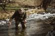 Sport fisherman hunting predator fish