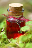 magic potion. red tincture in a glass bottle with a vintage key  in the grass clover. herbal natural tincture. magic potion.Homeopathy and alternative medicine - 190612212
