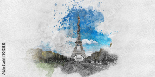 Painting with pencil sketch of the Eiffel Tower © XtravaganT