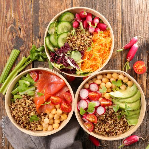 Fotobehang Hoogte schaal assorted vegetarian salad bowl