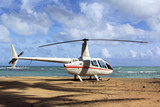 Small helicopter for excursions on a deserted beach - 190628806