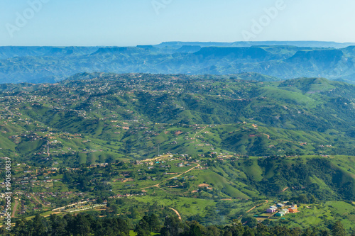 Fotobehang Groen blauw Flying Africa Rural Homes Valleys Mountains