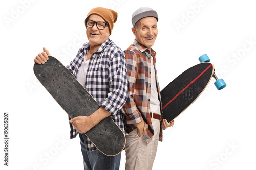 Fotobehang Skateboard Elderly hipsters with a skateboard and a longboard