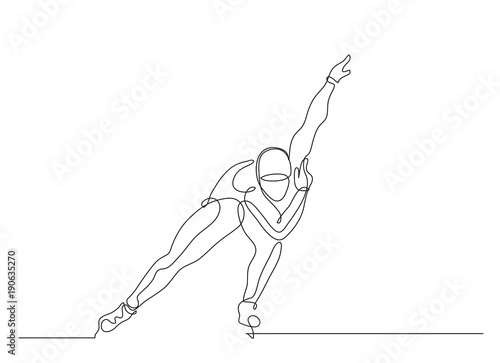Continuous line drawing. Illustration shows a sportsman running on skates. Speed skating. Winter sport. Vector illustration