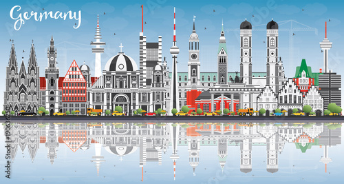 Germany City Skyline with Gray Buildings, Blue Sky and Reflections.