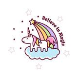 Cute Magical Unicorn. Vector illustration.